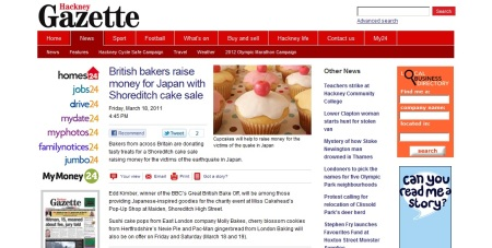 Hackney Gazette Cakes for Japan