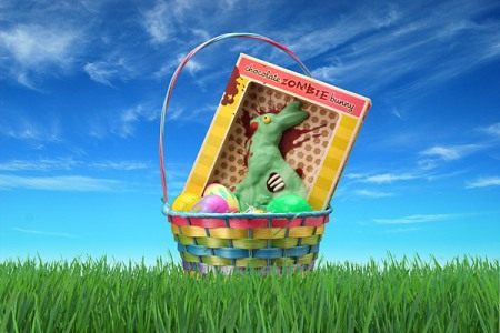 Chocolate Zombie Bunny in basket