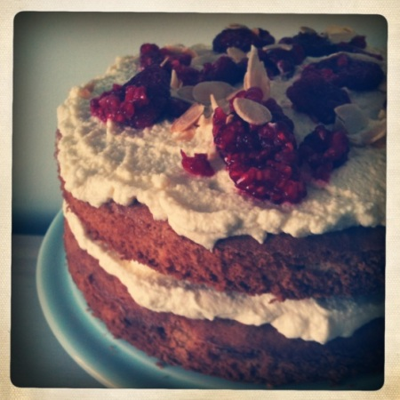Dan Lepard's Almond and raspberry layer cake