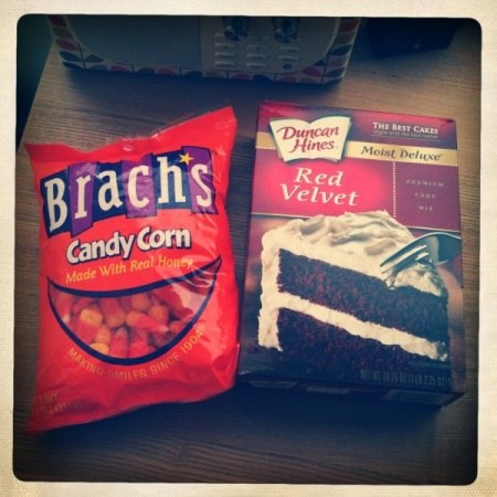 Brach's candy corn & red velvet mix